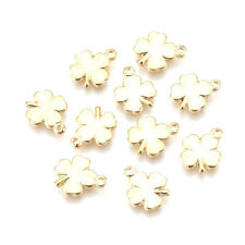 10PCS Brass Charms Clover Pendants For DIY Jewelry Making Real Gold 10.5x8.5mm