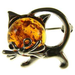 BALTIC AMBER STERLING SILVER 925 CAT KITTEN ANIMAL BROOCH PIN JEWELLERY JEWELRY