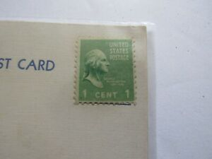 "RARE 1938 George Washington U.S. 1 cent Stamp On ""White Border"" Post Card (01A)"