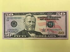 2013 $50 Federal Reserve Note I-9 Crisp Uncirculated FANCY SERIAL S/N REPEATER