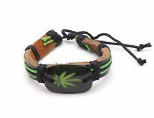 Adjustable Black & Green Leather Bracelet with a Herb Leaf Design
