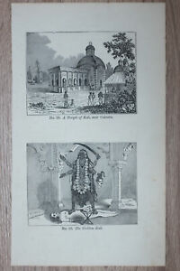 1855 print INDIA: Temple of Kali near Calcutta - Goddess Kali (#28)