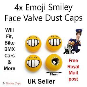 4x Emoji Smiley Grin Valve Dust Caps Cover Car Van motorbikes bikes BMX  Wheel