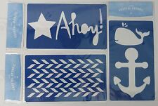 "Coastal Stencils Lot ""Ahoy!"", Whale and Anchor, and Chevron Lot of 3 Stencils"