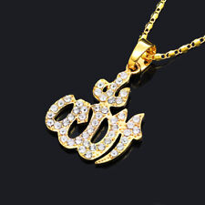Allah Pendant Necklace for man woman Chain Gold plated simulated diamond islamic