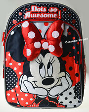 "RED GIRLS MINNIE MOUSE BACKPACK 14"" MEDIUM 3 D BOW CHRISTMAS GIFT B-DAY DISNEY"
