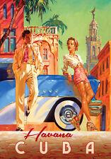 Vintage Retro Travel Poster * HAVANA CUBA * QUALITY CANVAS PRINT