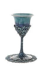 "Kiddush Cup with tray, Shabbat, Jeweled Enamel Turquoise 6"" x 3"", Tray: 4.5"""