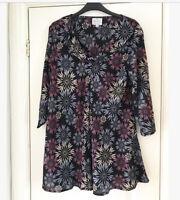 Masai Clothing Company Purple Black Floral Print Cowl Neck Tunic Top Size Small