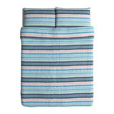 IKEA Duvet Cover & 2 Pillowcases Mossflox Full ( Double ) Queen 100% Cotton NOOP