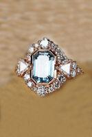 3.12 Ct Near White Emerald Moissanite Engagement Ring 925 Sterling Silver