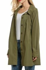 Beyove Womans Long Sleeve Lightweight Outdoor Raincoat W/ Hooded Army Green XL