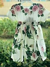 NWT Authentic DOLCE&GABBANA Little Girl Tropical Rose-Print Flare Dress Size 5