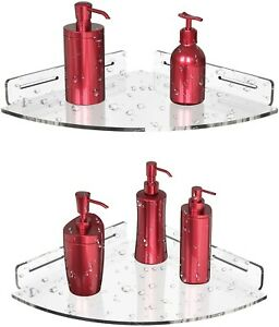 Vdomus acrylic corner shower shelf 2 pack with adhesive, wall mount bathroom
