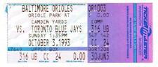 CAL RIPKEN Jr Orioles ~ 1993 Streak Game Ticket #1899 vs Blue Jays ~ FREE SHIP