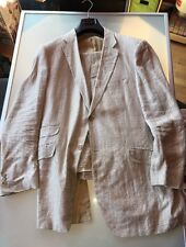 Beautiful Men's Canali Light Brown Pinstripe Linen Suit 48R EUR 58 Summer Spring