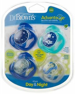 Dr. Browns 4-Pk. Glow Day & Night Pacifiers One Size Blue