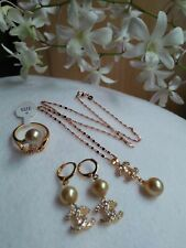 SOUTH SEA PEARL Earrings Ring & Pendant Set S8.5-9 in Micron Setting ON SALE