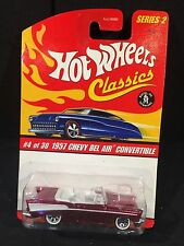 Hot Wheels Classics Series 2 MOC #4 of 30 57 Chevy Bel Air Conv. Pink [box ship]