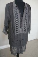 NEW 4 Love & Liberty Johnny Was  Silk & Lace Embroiderd Blouse Top Tunic Dress S