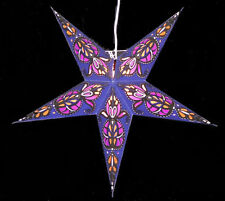 Star Light Wharly Blue Purple Paper Star Lantern NEW with 12' light cord