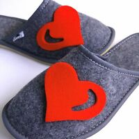 Ladies Women's Girls Red Hot Heart Slippers Valentine's Day Gift Present for Her