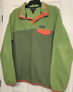 Women's Patagonia Synchilla Snap T  Fleece Green Pullover Pocket XL