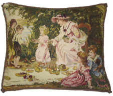 "16"" x 20"" Handmade Wool Needlepoint Petit Point Lady and Children Pillow"