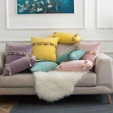 Throw Pillow Case Cushion Cover Tassel Fringe Velvet Sofa Decor Soft Modern Home