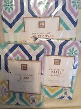Pottery Barn Teen Diamond Daisy F/Q Duvet Cover & 2 Shams NWT Cool Blue Lavender