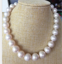 gorgeous Huge AAAA ROUND 12-14mm south sea white pearl necklace 18inch 14k gold