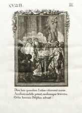 1822 Ovid Metamorphosen Orakel von Delphi Äskulap Asklepios Original-Kupferstich