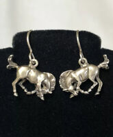 #633 Unique Vintage Horse Earrings, 925 Sterling Silver, Signed