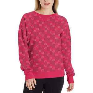 Champion Womens Powerblend Print Mini C Sweatshirt Large Deep Raspberry Pink