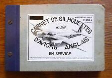 Militaria CARNET DE SILHOUETTES D'AVIONS ANGLAIS 1946 Caractéristiques et photos