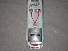 Pink Jewelz Earbuds Noise Isolating 3.5mm Plug MP3 Phone Stereo Hearts NEW!