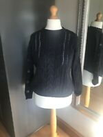 Marks And Spencer Women Navy Blue Jumper Sz 8  Cable Knit Long Sleeved Button's