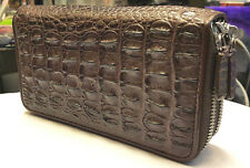 GENUINE CROCODILE WALLETS SKIN LEATHER BONE TWO ZIPPER WOMEN'S CLUTCH BROWN BAG