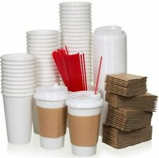 50 Sets 20oz White Paper Coffee Cups With Lids Sleeves And Strirrers