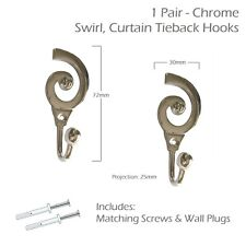 Designer Metal Chrome Swirl Curtain Ball End Tieback Hooks - 1 Pair - Inc Screws