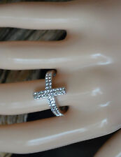 Side Large Cross Genuine Crystal CZ Silver Ring size 5