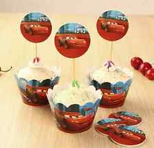 12 x  Cupcake Cup Cake Decorating,Toppers Wrappers PARTY ,Cars Lighting McQueen