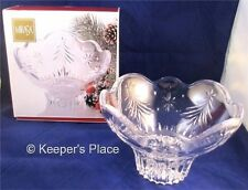 "Mikasa Christmas Night Crystal Collection 6"" Footed Bowl With Box Mint Condition"