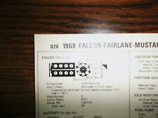 1968 Ford Falcon, Fairlane & Mustang 200 HP 289 CI V8 SUN Tune Up Chart Great!