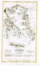 """Petermann Map -c1860- """"GRECIAN ARCHIPELAGO (by ENGLISH ADMIRALTY)"""" Hand-Colored"""