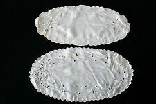 Two Oval Edwardian Off White Linen Hand Embroidered Dolies 11 Inch Length
