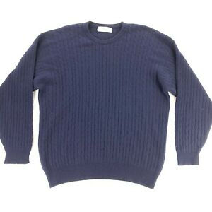 Johnstons of Elgin Men's 100% Cashmere Cable Knit Sweater/Jumper Navy Blue • XL