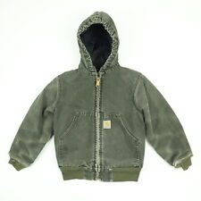 Carhartt Canvas Jacket / Coat Youth SMALL Nicely Faded Distressed Quilt Lined