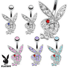 Authentic Playboy Bunny with Multi Colored CZ Gems Belly Button Navel Ring 14G