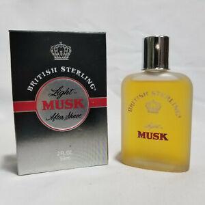 British Sterling Light Musk by Dana 2 oz / 60 ml after shave Rare, Vintage